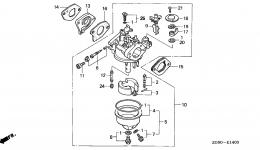 CARBURETOR (1) для двигателя HONDA GXV140 A1K