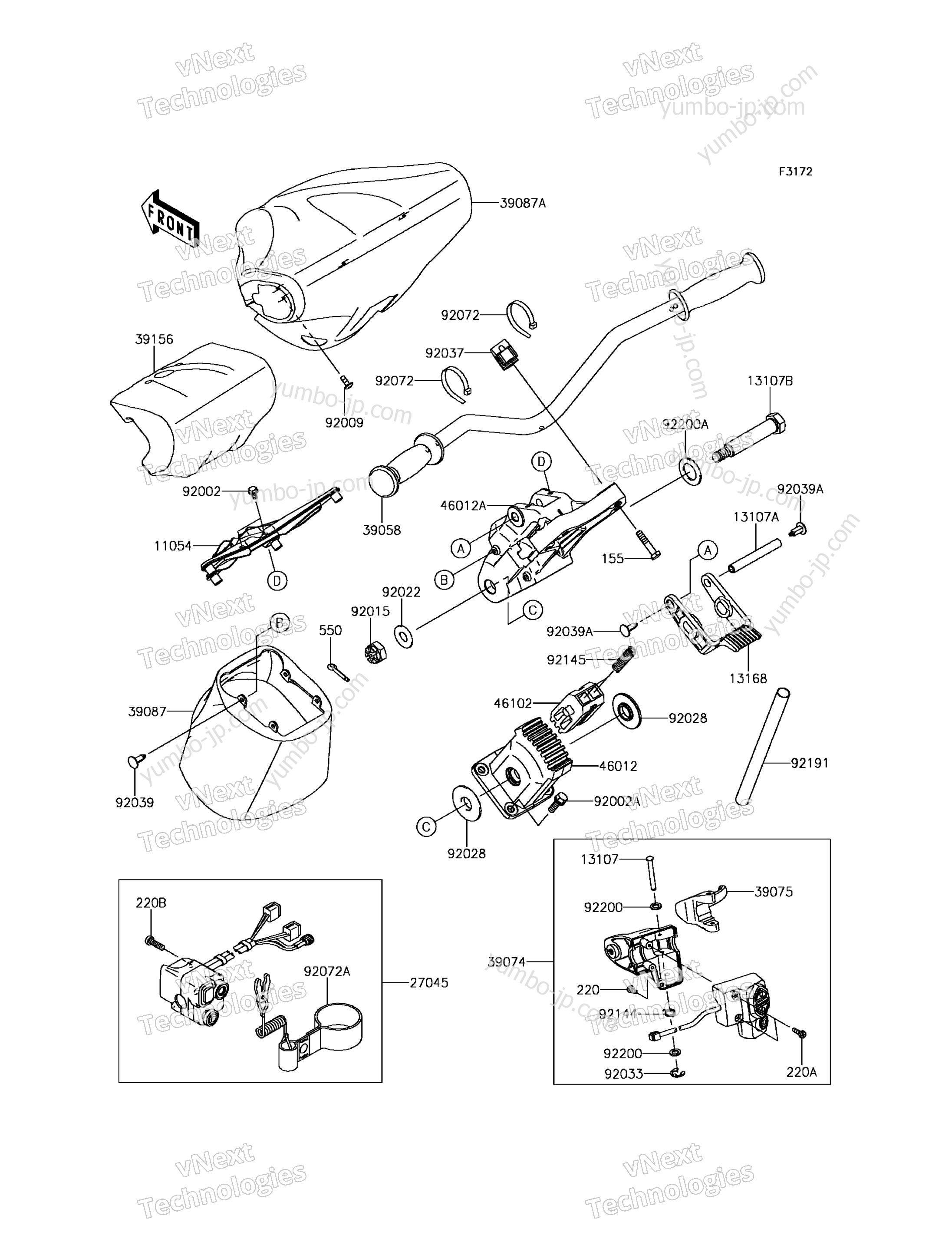 Румпель (рукоятка управления) для гидроцикла KAWASAKI JET SKI ULTRA 310X (JT1500PGF) 2016 г.