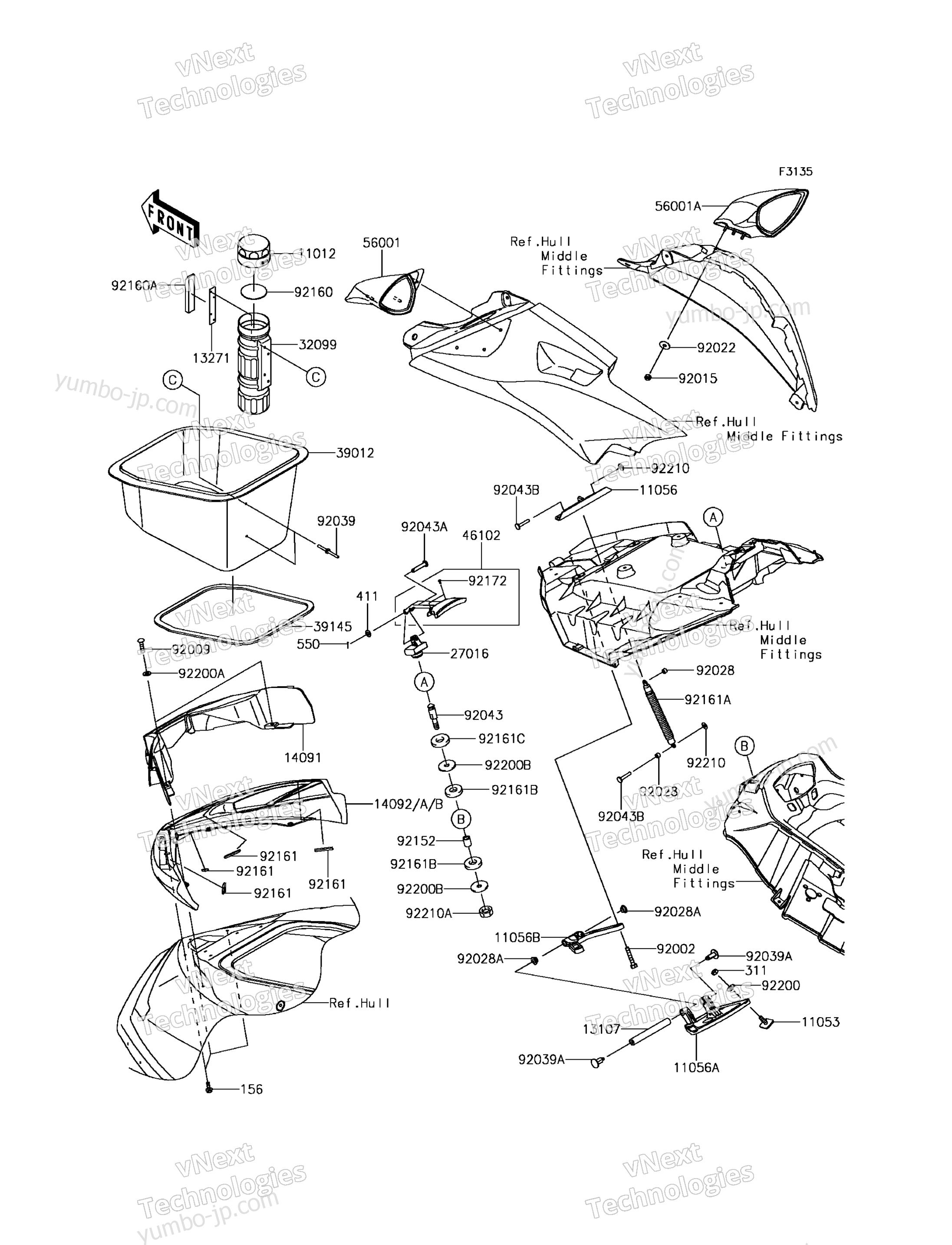 Hull Front Fittings для гидроцикла KAWASAKI JET SKI ULTRA 310X (JT1500PGF) 2016 г.