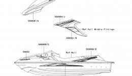 Decals(Titanium)(AAF) для гидроцикла KAWASAKI JET SKI STX-15F (JT1500AAF) 2010 г.