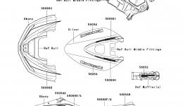 Decals(Silver)(E9F)(US) для гидроцикла KAWASAKI JET SKI ULTRA 260X (JT1500E9F) 2009 г.