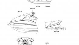 Эмблемы, наклейки для гидроцикла KAWASAKI JET SKI ULTRA LX (JT1500C8F) 2008 г.