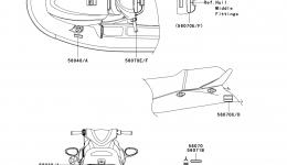 Эмблемы, наклейки для гидроцикла KAWASAKI JET SKI STX-15F (JT1500A7F) 2007 г.