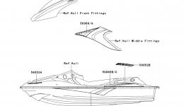 Decals(A1) для гидроцикла KAWASAKI JET SKI STX-15F (JT1500-A1) 2004 г.