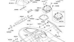Hull Middle Fittings(ABF∼AEF) для гидроцикла KAWASAKI JET SKI STX-15F (JT1500ADF)2013 г.