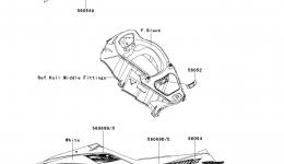 Decals(KCF) для гидроцикла KAWASAKI JET SKI ULTRA LX (JT1500KCF) 2012 г.
