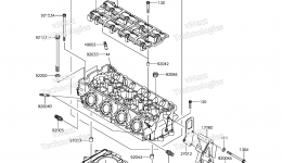 Головка блока цилиндров для гидроцикла KAWASAKI JET SKI ULTRA 310LX (JT1500MFF) 2015 г.