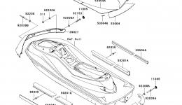 Pads для гидроцикла KAWASAKI JET SKI ULTRA LX (JT1500C7F) 2007 г.