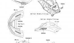 Decals(GBF) для гидроцикла KAWASAKI JET SKI ULTRA LX (JT1500GBF) 2011 г.