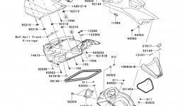 Hull Middle Fittings для гидроцикла KAWASAKI JET SKI ULTRA 300X (JT1500HCFA) 2012 г.