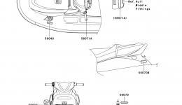 Эмблемы, наклейки для гидроцикла KAWASAKI JET SKI STX (JT1500DAF) 2010 г.