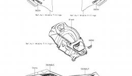 Decals(Ebony)(KEF) для гидроцикла KAWASAKI JET SKI ULTRA LX (JT1500KEF) 2014 г.