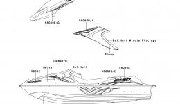 Decals(ABF) для гидроцикла KAWASAKI JET SKI STX-15F (JT1500ABF) 2011 г.