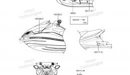 Эмблемы, наклейки для гидроцикла KAWASAKI JET SKI ULTRA 310X (JT1500PEF) 2014 г.