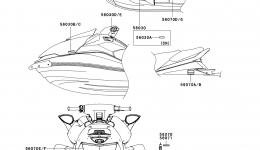 Эмблемы, наклейки для гидроцикла KAWASAKI JET SKI ULTRA 260X (JT1500E9F) 2009 г.