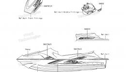 Decals(AGF) для гидроцикла KAWASAKI JET SKI STX-15F (JT1500AGF) 2016 г.