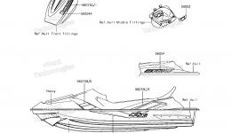 Decals(AHF) для гидроцикла KAWASAKI JET SKI STX-15F (JT1500AHF) 2017 г.