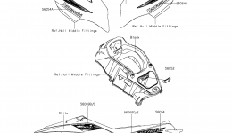 Decals(White)(KCF) для гидроцикла KAWASAKI JET SKI ULTRA LX (JT1500KCF) 2012 г.