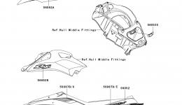 Decals(C7F) для гидроцикла KAWASAKI JET SKI ULTRA LX (JT1500C7F) 2007 г.