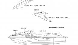 Decals(White)(A6F) для гидроцикла KAWASAKI JET SKI STX-15F (JT1500A6F) 2006 г.