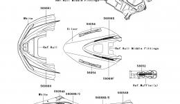 Decals(White)(F9F) для гидроцикла KAWASAKI JET SKI ULTRA 260LX (JT1500F9F)2009 г.