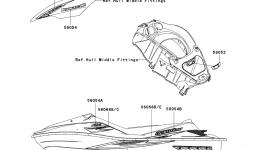 Decals(C8F) для гидроцикла KAWASAKI JET SKI ULTRA LX (JT1500C8F) 2008 г.
