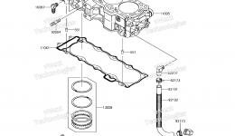Cylinder/Piston(s) для гидроцикла KAWASAKI JET SKI ULTRA 310X (JT1500PEF) 2014 г.