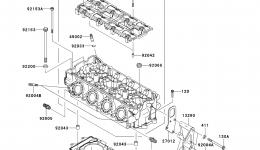 Головка блока цилиндров для гидроцикла KAWASAKI JET SKI ULTRA 300X (JT1500HDF) 2013 г.