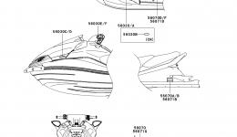 Эмблемы, наклейки для гидроцикла KAWASAKI JET SKI ULTRA 300X (JT1500HCFA) 2012 г.