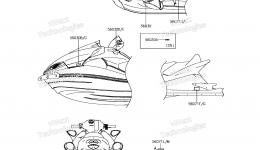 Эмблемы, наклейки для гидроцикла KAWASAKI JET SKI ULTRA 310LX (JT1500MFF) 2015 г.