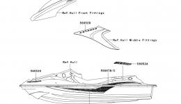 Decals(F.Red)(A6F) для гидроцикла KAWASAKI JET SKI STX-15F (JT1500A6F) 2006 г.