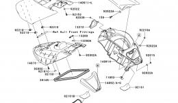 Hull Middle Fittings для гидроцикла KAWASAKI JET SKI ULTRA 260X (JT1500E9F) 2009 г.