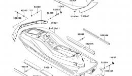 Pads для гидроцикла KAWASAKI JET SKI ULTRA 300X (JT1500HDF) 2013 г.