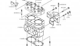 CYLINDER HEAD/CYLINDER для гидроцикла KAWASAKI JS550-B1 1990 г.
