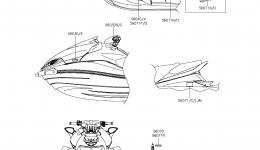 Эмблемы, наклейки для гидроцикла KAWASAKI JET SKI ULTRA LX (JT1500KCF) 2012 г.
