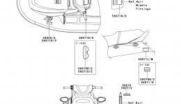 Эмблемы, наклейки для гидроцикла KAWASAKI JET SKI STX-15F (JT1500ADF)2013 г.