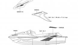 Decals(M.N.Blue)(A7F) для гидроцикла KAWASAKI JET SKI STX-15F (JT1500A7F) 2007 г.