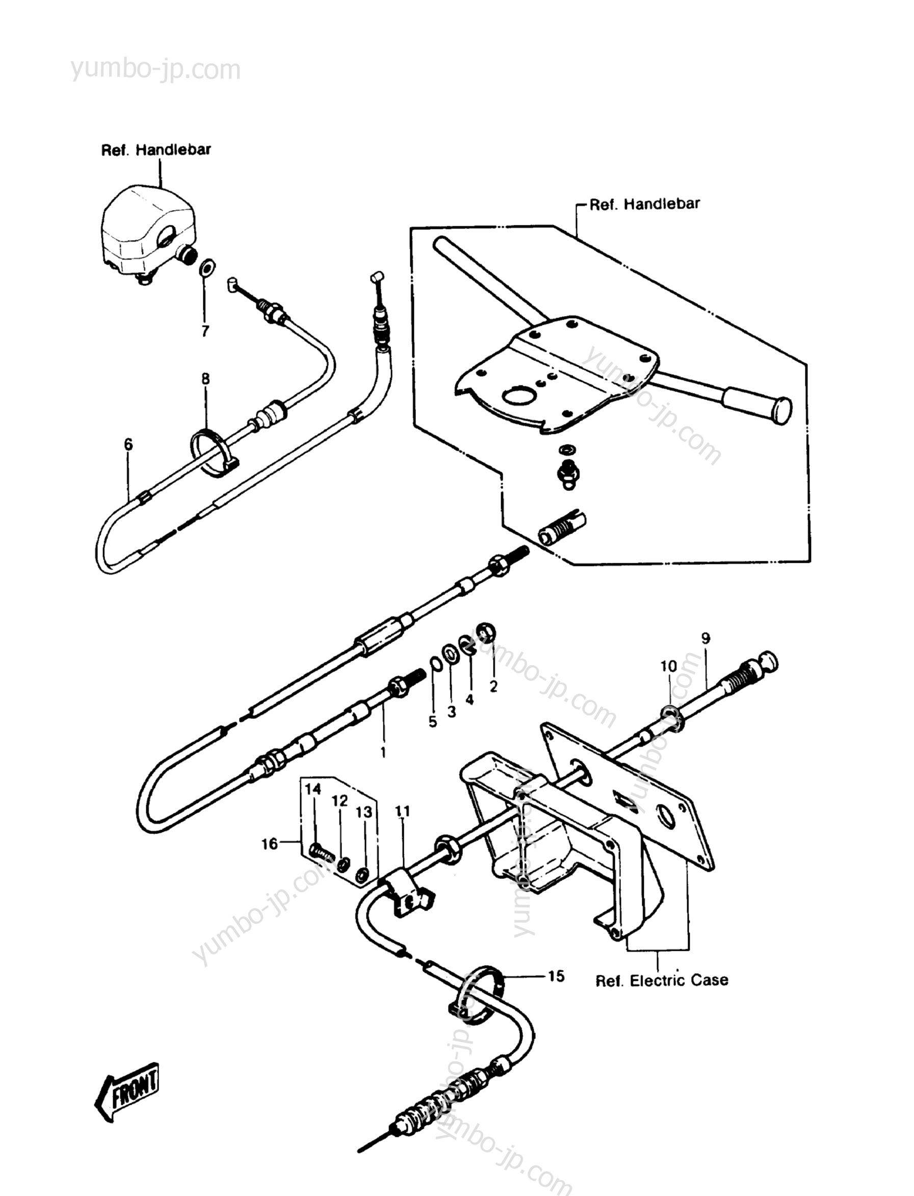 CABLES для гидроциклов KAWASAKI JST SKI 550 (JS550-A6) 1987 г.