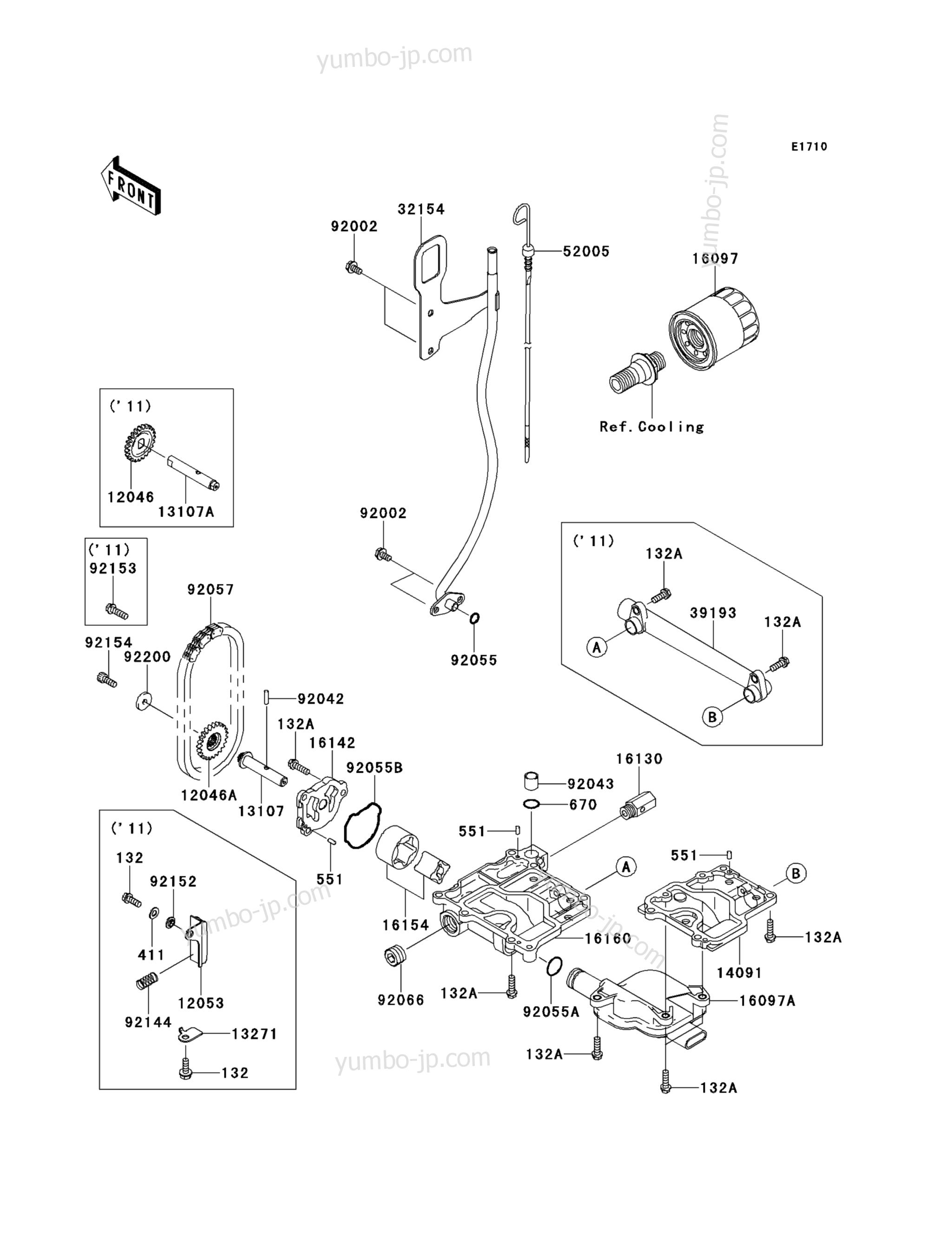 Масляный насос для гидроциклов KAWASAKI JET SKI STX-15F (JT1500ADF) 2013 г.