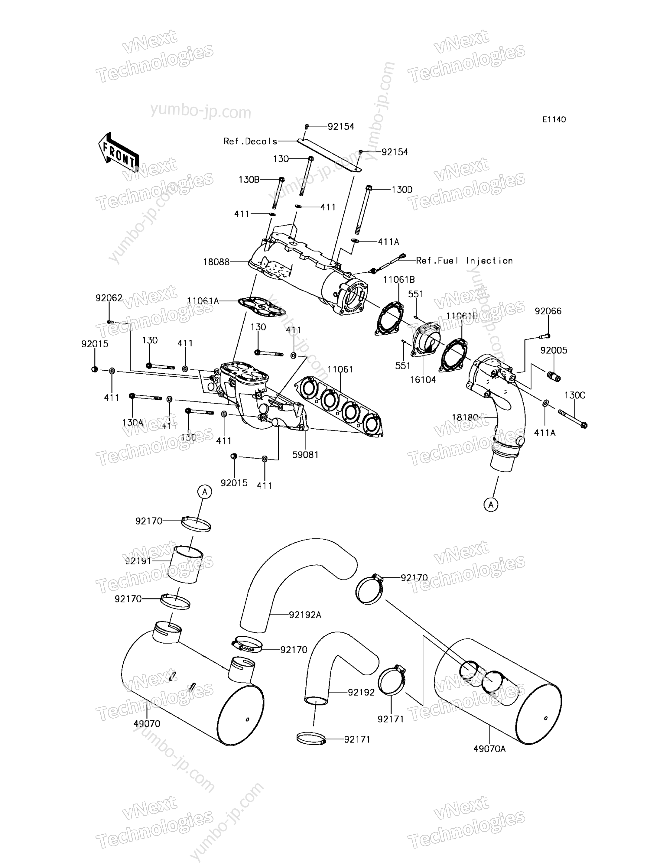 Muffler(s) для гидроциклов KAWASAKI JET SKI ULTRA 310X (JT1500PGF) 2016 г.