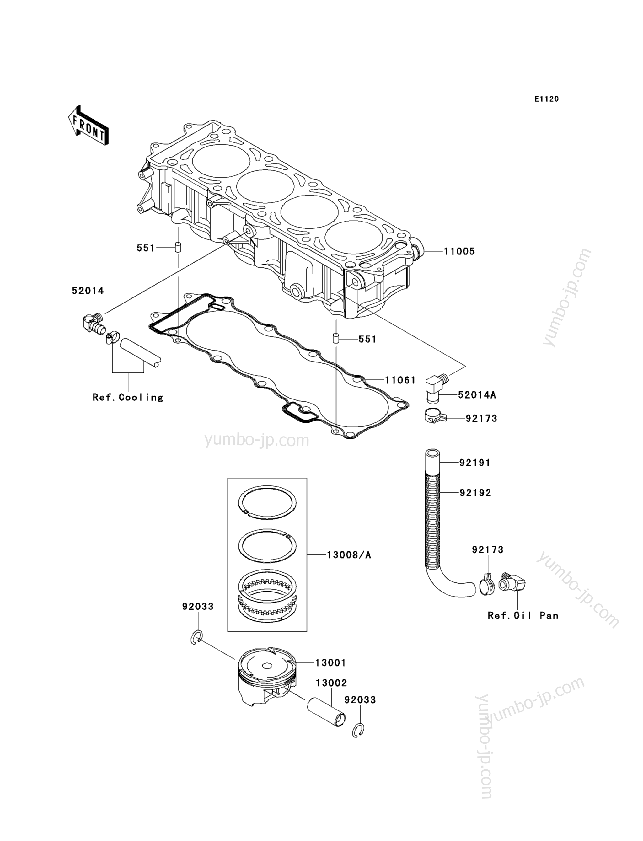Cylinder/Piston(s) для гидроциклов KAWASAKI JET SKI STX-15F (JT1500ADF) 2013 г.