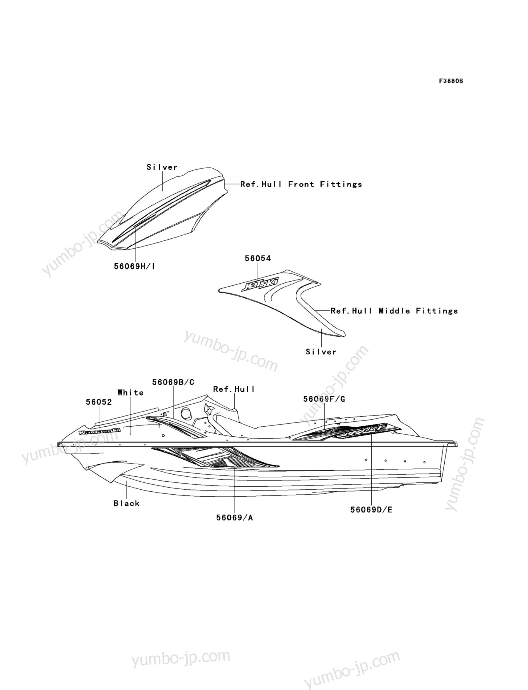 Decals(ADF) для гидроциклов KAWASAKI JET SKI STX-15F (JT1500ADF) 2013 г.