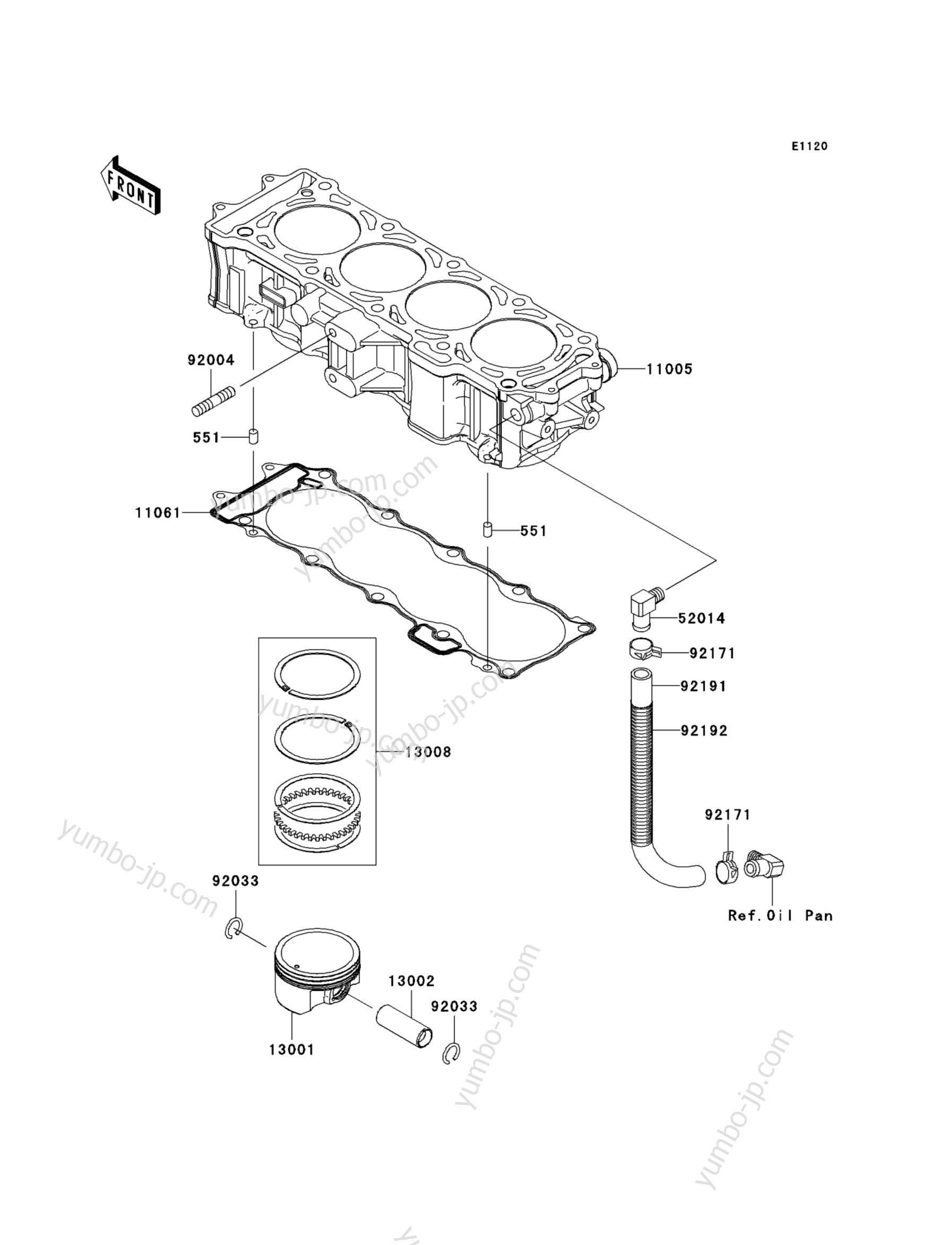 Cylinder/Piston(s) для гидроцикла KAWASAKI JET SKI ULTRA 300X (JT1500HCF) 2012 г.