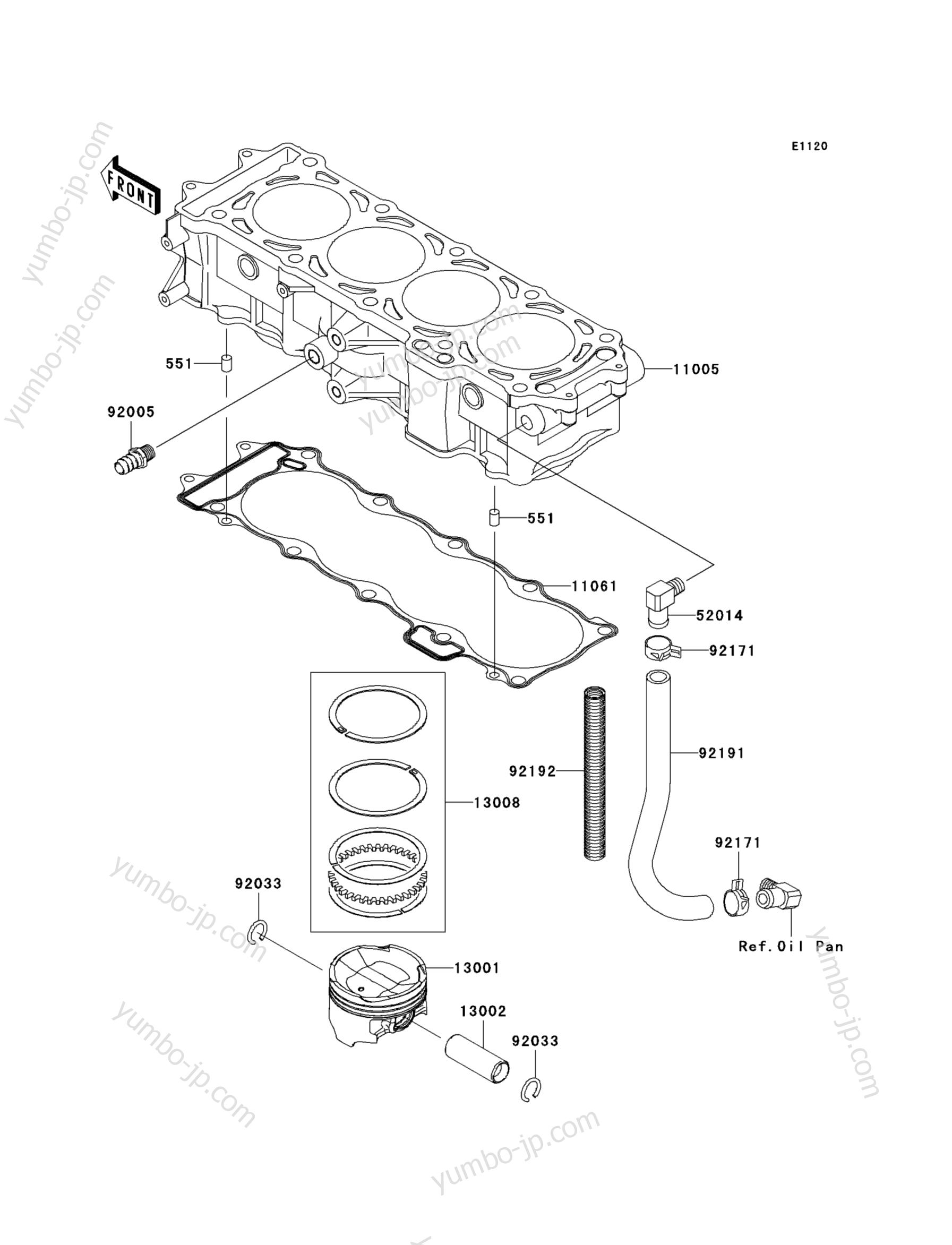 Cylinder/Piston(s) для гидроциклов KAWASAKI JET SKI ULTRA 260LX (JT1500F9F) 2009 г.