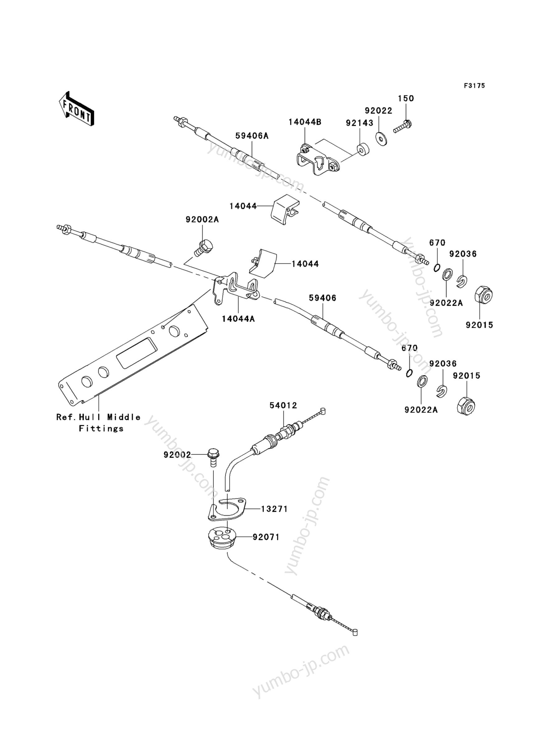 CABLES для гидроцикла KAWASAKI JET SKI STX-15F (JT1500AAF) 2010 г.