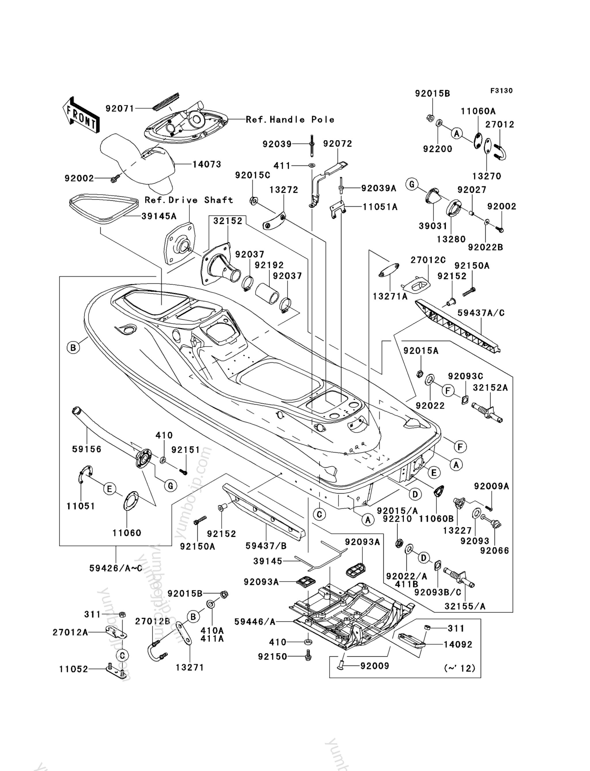 Hull для гидроциклов KAWASAKI JET SKI STX-15F (JT1500ADF) 2013 г.