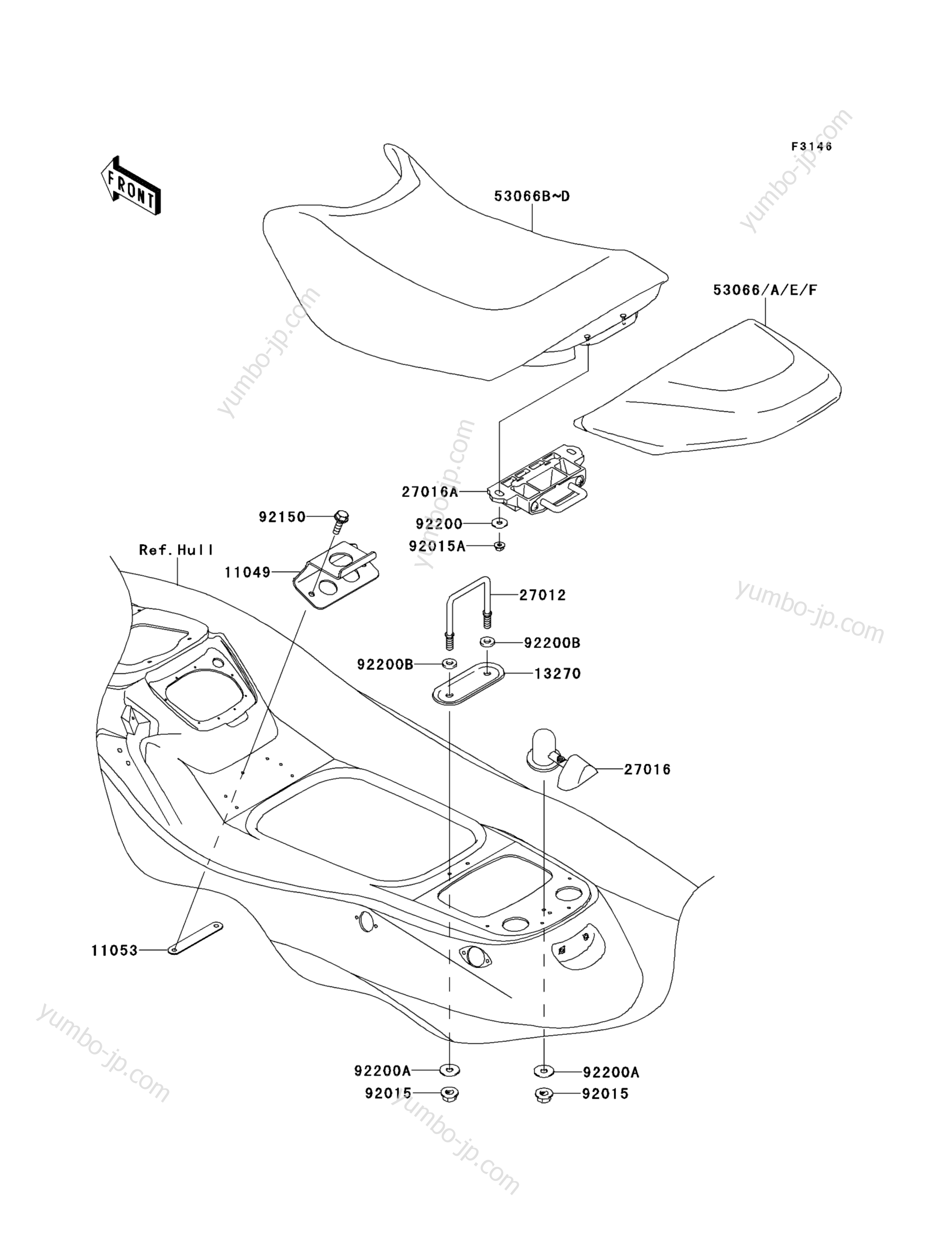 SEAT для гидроциклов KAWASAKI JET SKI STX-15F (JT1500ADF) 2013 г.