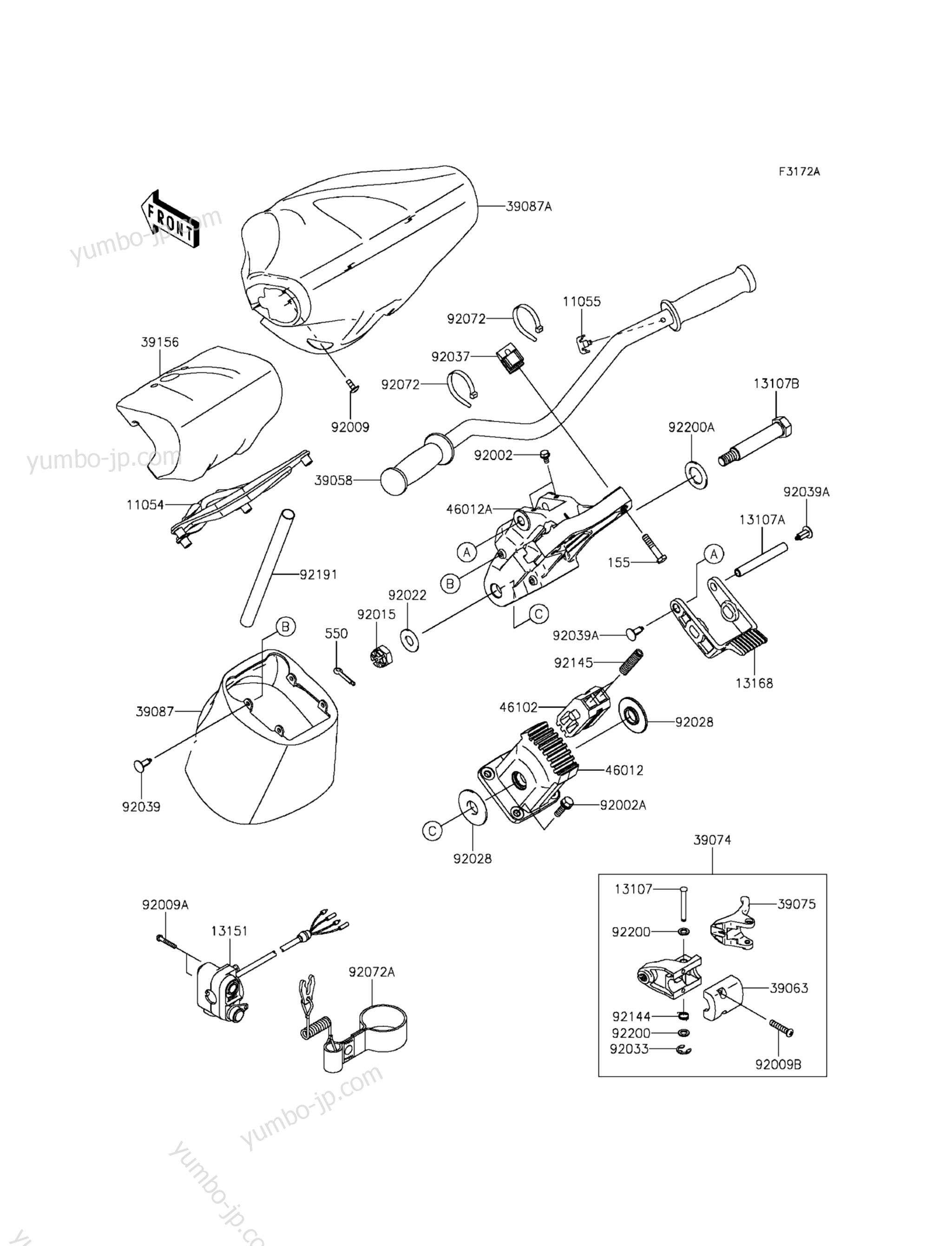 Handlebar(KFF/KGF) для гидроцикла KAWASAKI JET SKI ULTRA LX (JT1500KFF) 2015 г.