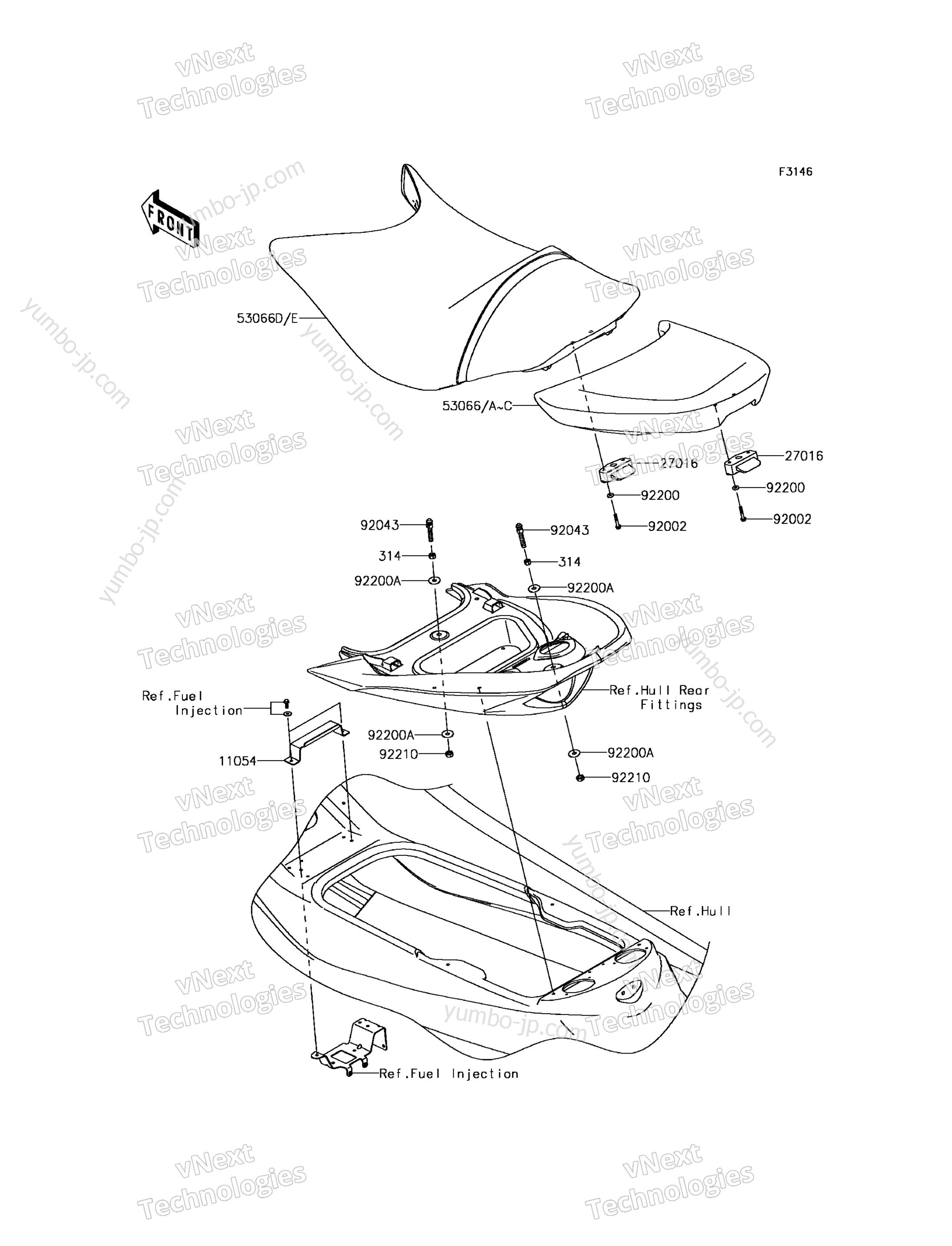 SEAT для гидроциклов KAWASAKI JET SKI ULTRA 310X (JT1500PGF) 2016 г.
