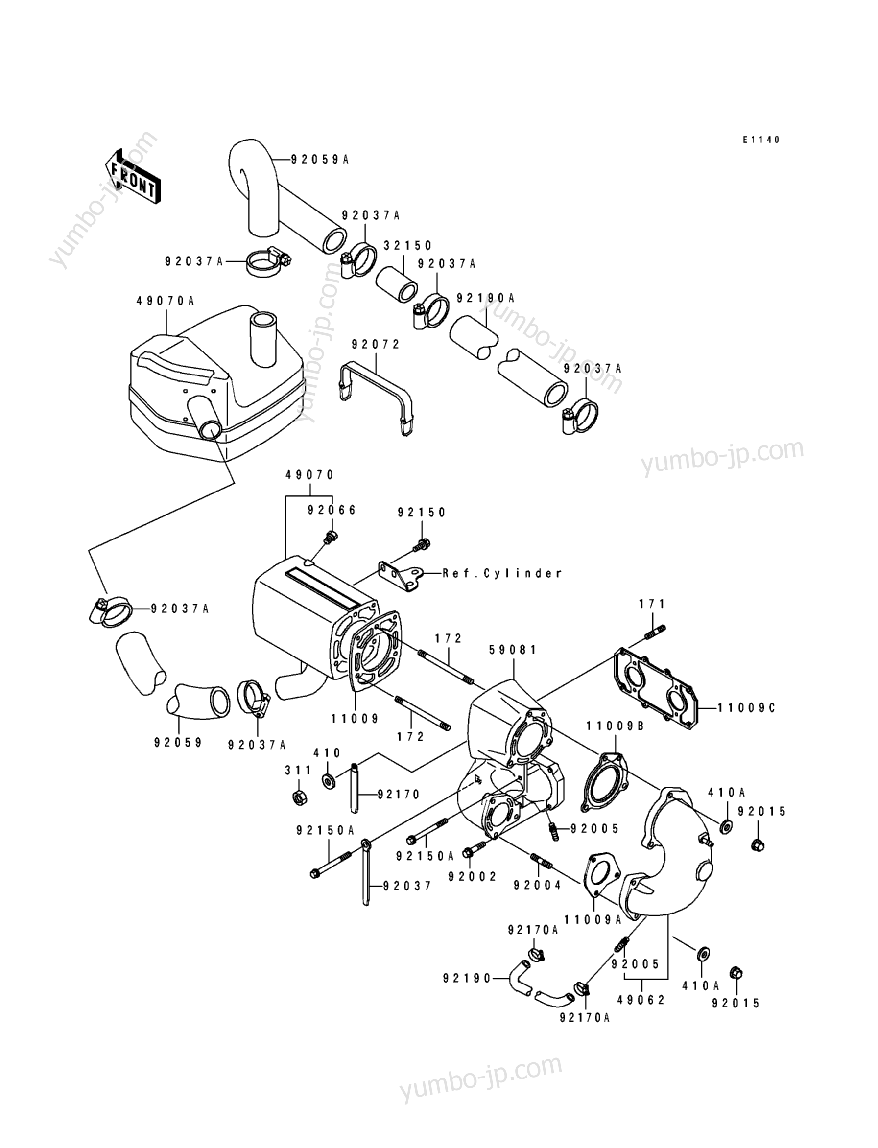MUFFLER для гидроциклов KAWASAKI JS550-B1 1990 г.